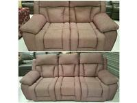 Purple 3 & 2 seater electric recliners in nearly new condition