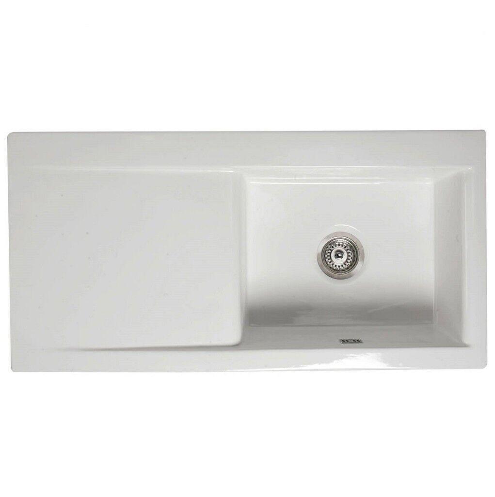 RAK Ceramics Gourmet Sink DSINK2 Reversible 1.0 Bowl White Kitchen ...