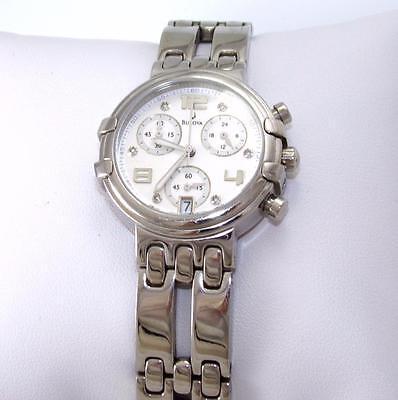 Bulova Quartz Ladies Chronograph MOP Diamond Bracelet Dress Watch 96P006 QX