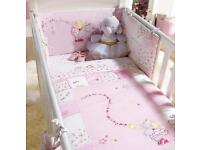 Baby girls cotbed bedding set and accessories Izziwotnot