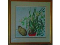 Elizabeth Blackadder: Cymbidium and Abyssinian Cat - framed, signed print