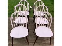 Vintage Ercol Windsor Hoop Back Dining Chairs Set Of 6 inc 2 carvers