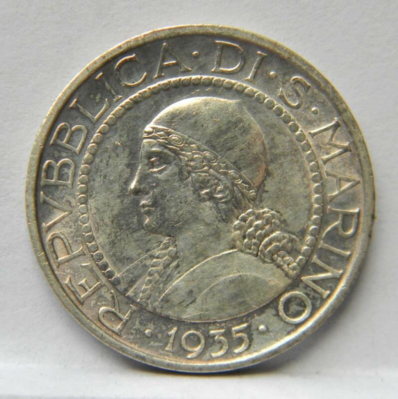 "SAN MARINO 1935R ""Princess"" silver 5 Lire; toned AU"