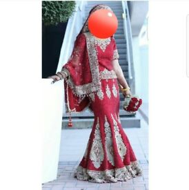 Red Asian bridal lengha wedding dress