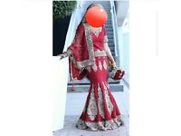 Red Asian bridal lengha wedding dress
