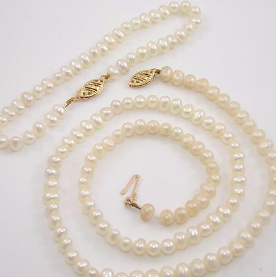 "14K Yellow Gold 5mm Pearl Bead Strand Necklace 18"" Bracelet Set 7.25"" QX"
