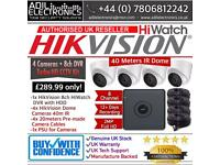 Hikvision 4 Cameras HiWatch Turbo-HD Full CCTV Kit: 8CH DVR & 4x Full HD 1080P 2MP Dome Cameras