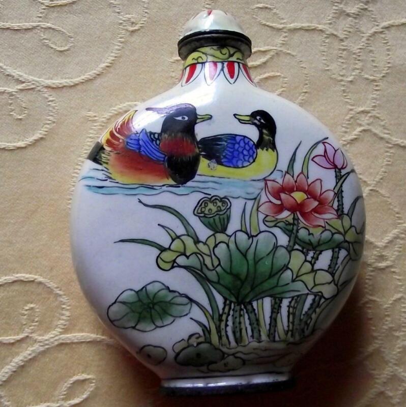 Vintage Qianlong Signed Chinese Oriental Snuff Perfume Bottle Enamel on Copper G