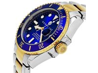 Henry Jay Mens 23K gold plated solid stainless steel, two tone specialty aqua...