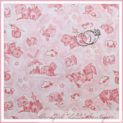 BonEful Fabric FQ Cotton Pink Cream Baby Girl Windmill Flower Nursery Toile (Toile Baby Girl)