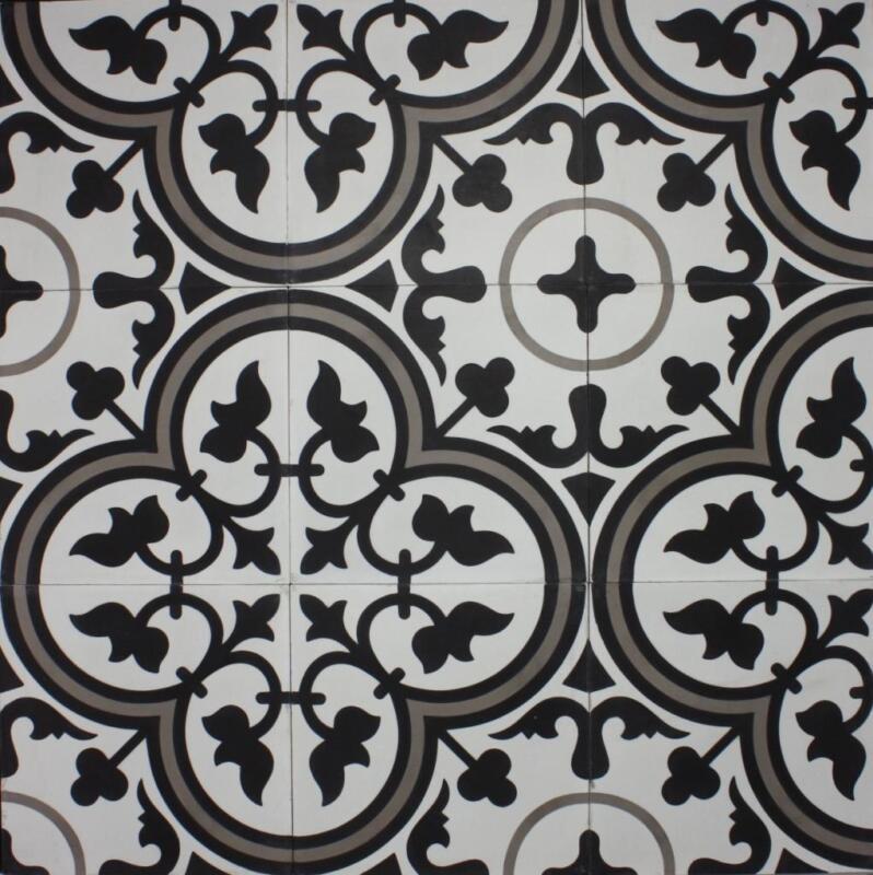 Encaustic Tiles Zamora White Pattern 200x200mm Cement Floor Per Sqm