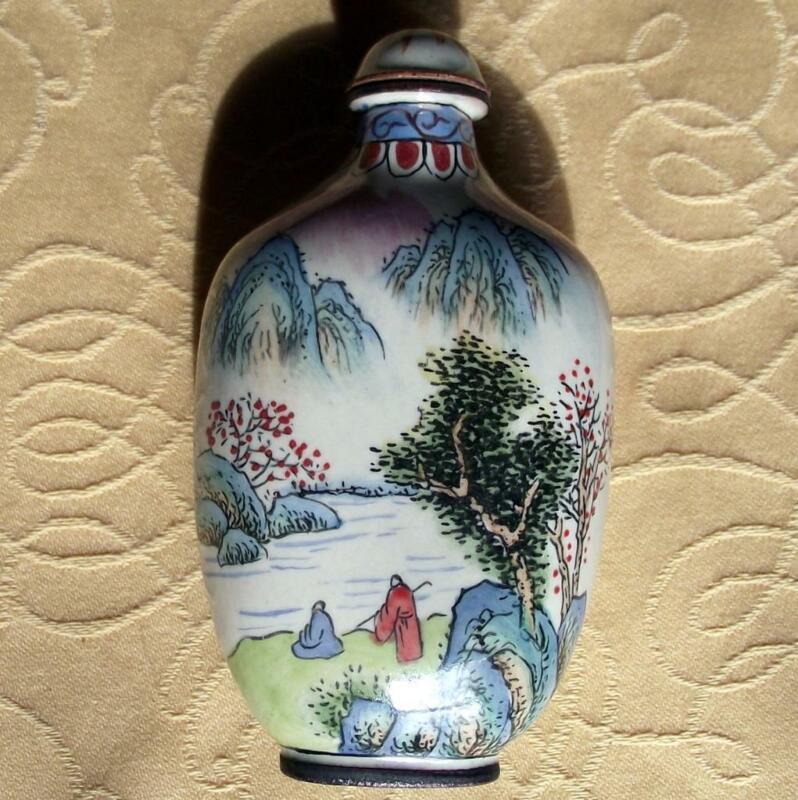 Vintage Qianlong Signed Chinese Oriental Snuff Perfume Bottle Enamel on Copper P