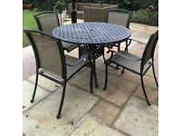 Metal Garden Table and 4 Chairs For Sale