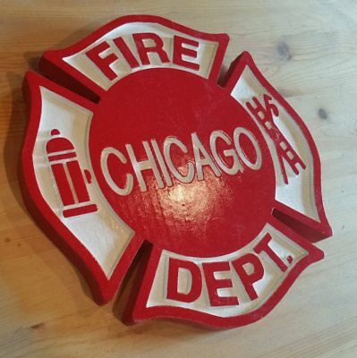 Fire Department Chicago 3D routed carved wood patch sign plaque New