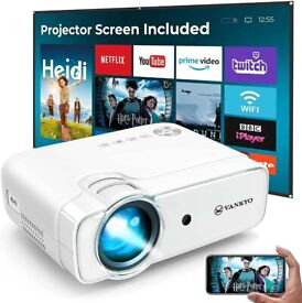 WiFi Mini Projector w/ 100 Inch Projector Screen