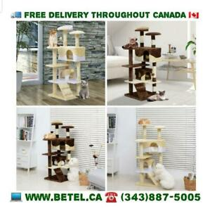 FREE DELIVERY || Elegant Plush Multilevel Cat Tree Condo with Sisal Scratching Post