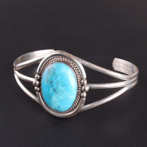 Native American turquoise shank bracelet Sterling Silver .925 pawn classic