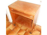 Teak PC Desk on Casters