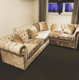 Brand New Crushed Velvet Silver Corner Sofa Suite