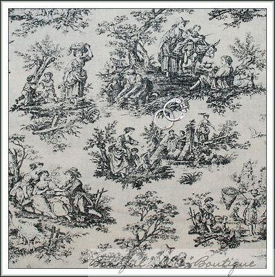 BonEful Fabric Cotton Quilt Cream Tan Black Flower Colonial Williamsburgh SCRAP ()