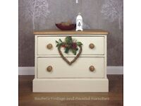 Vintage quality Pine 2 drawer chest/Hand painted Annie Sloane/Shabby Chic/Country