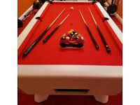 7FT SLATE BED SUPEREME POOL TABLE – WHITE Brand New - Perfect Condition.