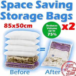 2 x Lrg Space Saver Storage Vacuum Bags Travel Saving★★