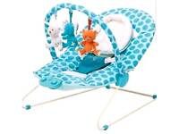 USED Blue bouncer Chad Valley with vibrations and lulaby music