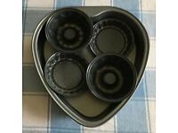 Heart shaped cake tin & 2 mini tart tins & 2 mini cake rings