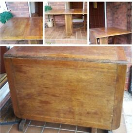 VINTAGE RETRO 1960S 3FT UNOPENED RECTANGLE OAK DROP LEAF TABLE USED CONDITION