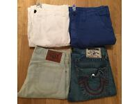 4 pairs of brand new authentic. men's True Religion denim shorts and board shorts