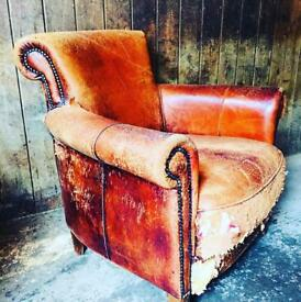 Vintage Worn Old Tan Leather Arm Chair