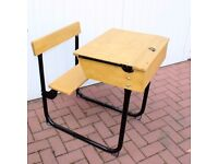 OLD SCHOOL DESK WITH FOLD AWAY SEAT 1920's