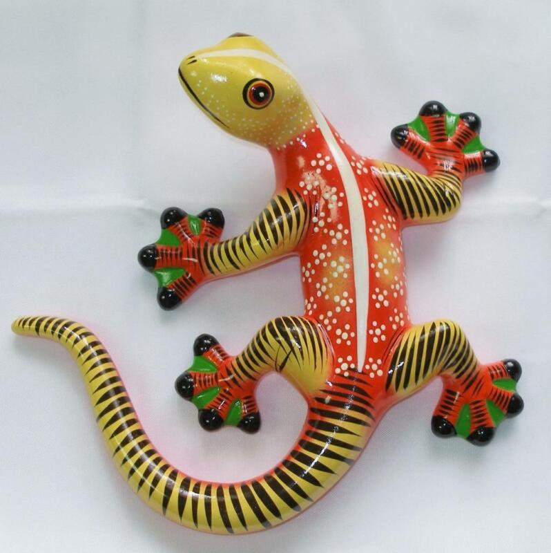 Ceramic Clay Lizard Gecko Cantina Wall Decor Orange Red Yellow White Stripe V1