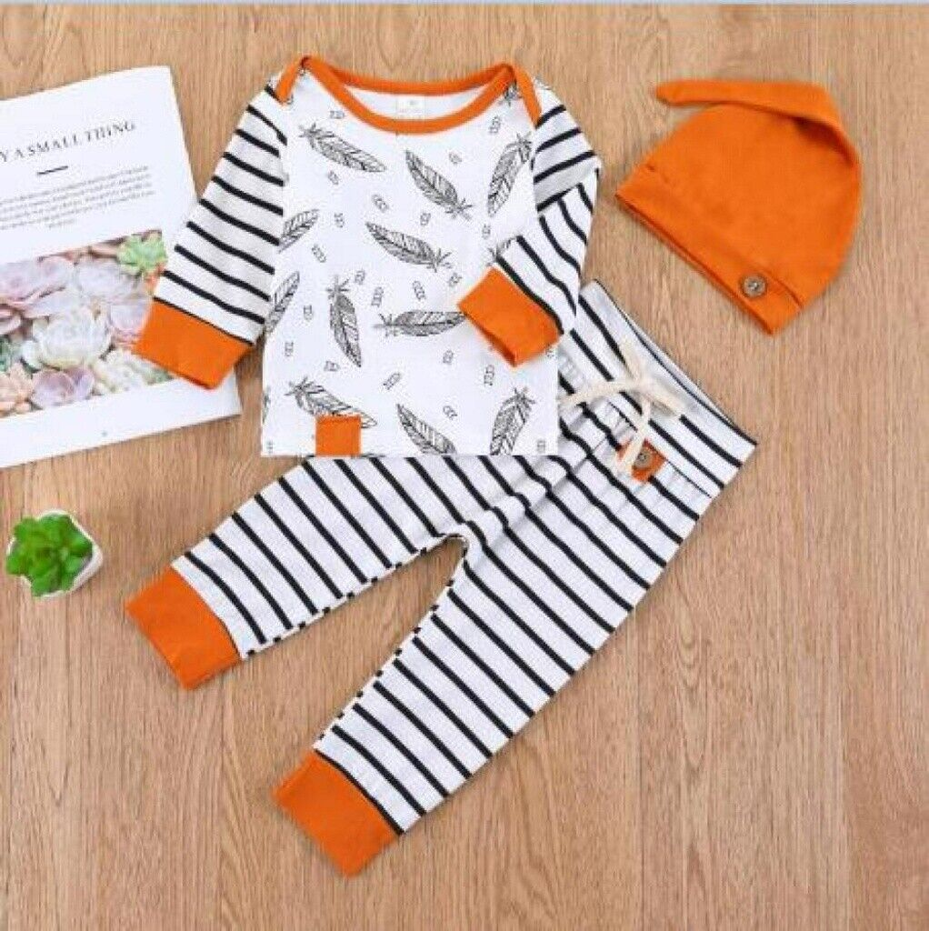 3pcs Newborn Toddler Baby Boy Girl Casual Clothes T-shirt To