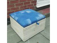 Ottoman or toybox or footstool storage solid wood Base with denim patchwork seat , as new can deliv