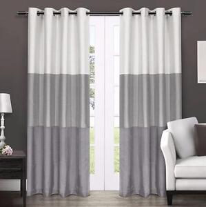 Exclusive Home Chateau Striped Faux Silk Grommet Top Window Curtain Panels, 54-Inch by 84-Inch, Dove Grey, Sold as Set