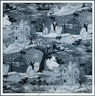 BonEful Fabric FQ Cotton Quilt B&W Halloween Glitter Toile Haunted House Cat Bat