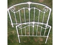 IVORY CREAM SHABBY CHIC CAST IRON METAL BED FRAME HEADBOARD ANTIQUE VTG DOUBLE FRENCH STYLE