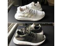 Men's Adidas Swift Run Trainers size UK 8 (2 pairs 1xGreen 1xWhite)