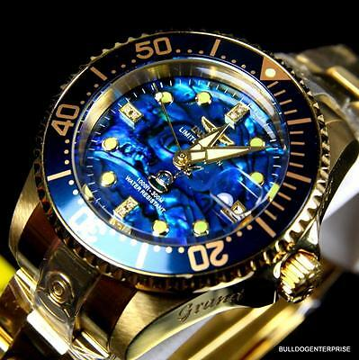 Womens Invicta Grand Diver Automatic 18Kt Gold Plated Blue Abalone Watch New