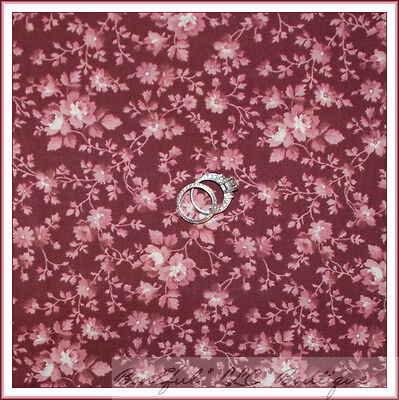 BonEful Fabric FQ Cotton Quilt VTG Maroon Pink Cream FLOWER Rose Shabby Chic OOP