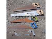 five hand saws incl. carbide-tooth masonry saw + 2x vintage