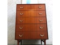 Vintage Mid Century Teak Tall Boy Chest of Drawers by Meredew