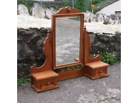 Large Solid Pine Mirror With Two Small Drawers