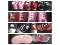 Baby first walkers brand new 3 pairs pink navy red
