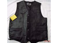 MENS LEATHER WAISTCOAT SIZE LARGE, NEW LABELS STILL ATTACHED