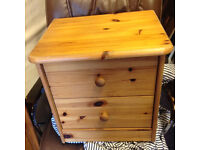 small bed side table in real pine wood