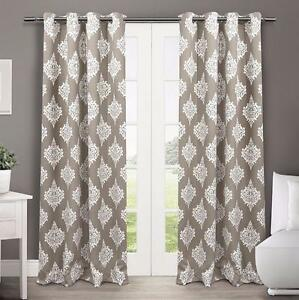 Exclusive Home Medallion Blackout Thermal Grommet Top Window Curtain Panels, 52-Inch by 84-Inch, Taupe, Sold as Set of 2