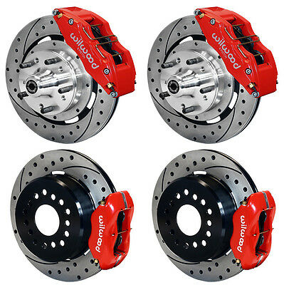 "WILWOOD DISC BRAKE KIT,65-72 CDP C-BODY,12"" DRILLED ROTORS,6 PISTON RED CALIPERS"